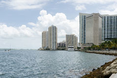 Miami Florida, skyscrapers and Atlantic ocean Stock Images