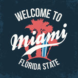 Miami, Florida State. T-shirt design, typography for t-shirt graphics. Palms with surfboard and lettering. Vector Stock Photography