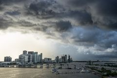 Miami Florida at storm with sunset. View of the big dark clouds and strong gale from the sea.  Stock Photos