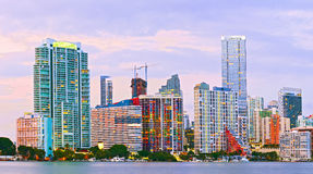 Miami Florida at sunset. Colorful skyline of illuminated buildings Royalty Free Stock Photo