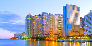Miami Florida at sunset,. Colorful skyline of illuminated buildings Stock Image