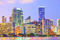 Miami Florida at sunset,. Colorful skyline of illuminated buildings Stock Images