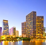 Miami Florida at sunset,. Colorful skyline of illuminated buildings Stock Photos