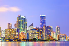 Miami Florida at sunset,. Colorful skyline of illuminated buildings Royalty Free Stock Images