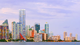Miami Florida at sunset,. Colorful skyline of illuminated buildings Royalty Free Stock Photo