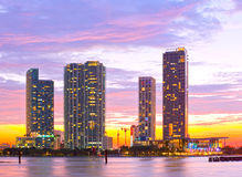 Miami Florida at sunset,. Colorful skyline of illuminated buildings Stock Photography