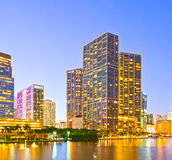 Miami Florida at sunset,. Colorful skyline of illuminated buildings Royalty Free Stock Image