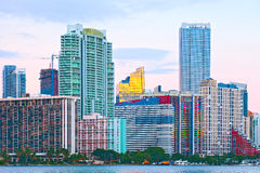Miami Florida at sunset. Colorful skyline of illuminated buildings Royalty Free Stock Photos