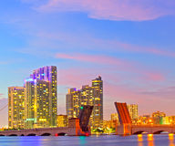 Miami Florida at sunset. Colorful skyline of illuminated buildings and Venetian Causeay Stock Photography