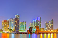 Miami Florida at sunset. Colorful skyline of illuminated buildings and Venetian Causeay Royalty Free Stock Photos