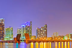 Miami Florida at sunset. Colorful skyline of illuminated buildings and Venetian Causeay Royalty Free Stock Images