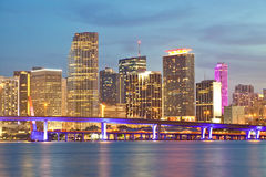 Miami Florida sunset over downtown buildings Stock Photos