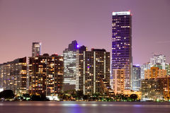 Miami Florida sunset over downtown buildings Stock Photo