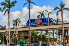 Miami metro rail tram. Miami, FLorida/US - FEBRUARY 18, 2018: Metro rail tram in Miami Dade. Suspended train cart Royalty Free Stock Images