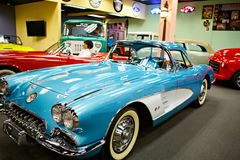 Miami Auto Museum exhibits a collection of vintage and cinema automobiles, bicycles and motorcycles. MIAMI, FLORIDA, USA - APRIL 11: Miami Auto Museum exhibits a Royalty Free Stock Image