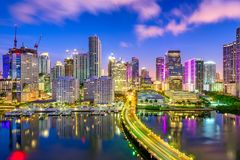 Miami, Florida, USA Biscayne Bay Skyline. Miami, Florida, USA downtown skyline over Biscayne Bay at night royalty free stock image