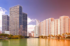 Miami Florida USA. Famous travel destination, downtown modern  buildings on a beautiful summer day, Instagram filter processing Royalty Free Stock Image
