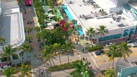 Miami, Florida, Usa - January 2019: Aerial drone panorama view flight over Miami beach city centre. Bee attack. Miami, Florida, Usa - January 2019: Aerial drone stock video