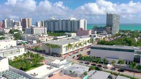 MIAMI, FLORIDA, USA - JANUARY 2019: Aerial drone panorama view flight over Miami beach city centre. stock footage