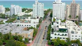 Miami, Florida, Usa - January 2019: Aerial drone panorama view flight over Miami beach city centre. Miami, Florida, Usa - January 2019: Aerial drone panorama stock video footage