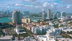 MIAMI, FLORIDA, USA - JANUARY 2019: Aerial drone panorama view flight over Miami beach city centre. MIAMI, FLORIDA, USA - JANUARY 2019: Aerial drone panorama stock video