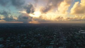 Miami, Florida, Usa - January 2019: Aerial drone panorama view flight over Miami beach city centre. Sunrise from above. Miami, Florida, Usa - January 2019 stock video footage