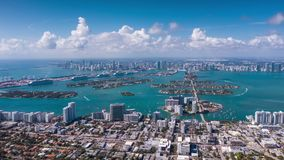 MIAMI, FLORIDA, USA - JANUARY 2019: Aerial drone panorama view flight over Miami Beach city centre.
