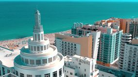 Miami, Florida, Usa - January 2019: Aerial drone panorama view flight over Miami beach city centre. Streets, hotels and residential buildings from above stock video