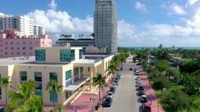 MIAMI, FLORIDA, USA - JANUARY 2019: Aerial drone panorama view flight over Miami beach city centre. stock video