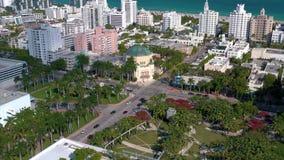 MIAMI, FLORIDA, USA - JANUARY 2019: Aerial drone panorama view flight over Miami beach city centre. MIAMI, FLORIDA, USA - JANUARY 2019: Aerial drone panorama stock footage