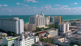Miami, Florida, Usa - January 2019: Aerial drone panorama view flight over Miami beach city centre. Streets, hotels and residential buildings from above stock video footage