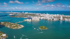 MIAMI, FLORIDA, USA - JANUARY 2019: Aerial drone panorama view flight over Miami. Venetian Islands from above.