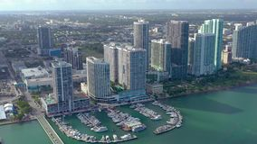 MIAMI, FLORIDA, USA - JANUARY 2019: Aerial drone view flight over Miami Edgewater district on Biscayne Bay. stock video footage