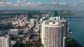 Miami, Florida, Usa - January 2019: Aerial drone view flight over Miami Edgewater district on Biscayne Bay. Miami, Florida, Usa - January 2019: Aerial drone stock video