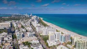 MIAMI, FLORIDA, USA - JANUARY 2019: Aerial hyperlapse 4k drone panorama view flight over Miami beach ocean coastline. stock video