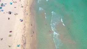MIAMI, FLORIDA, USA - MAY 2019: Aerial drone panorama view flight over Miami beach. South Beach sand and sea from above. MIAMI, FLORIDA, USA - MAY 2019: Aerial stock video footage