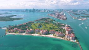 Miami, Florida, Usa - May 2019: Aerial drone view flight over Miami beach. South Beach and Fisher island from above. Miami, Florida, Usa - May 2019: Aerial stock footage