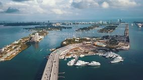 Miami, Florida, Usa - May 2019: Aerial drone view flight over Miami Biscayne Bay. Overpasses and viaducts from above.