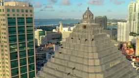 Miami, Florida, Usa - May 2019: Aerial drone view flight over Miami downtown. Business building rooftop with birds. Miami, Florida, Usa - May 2019: Aerial drone stock footage