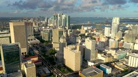 Miami, Florida, Usa - May 2019: Aerial drone view flight over Miami downtown. Hotels, business buildings from above. Miami, Florida, Usa - May 2019: Aerial stock video