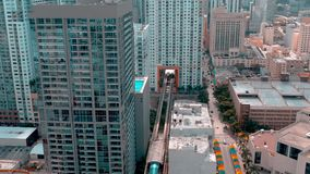 Miami, Florida, Usa - May 2019: Aerial drone view flight over Miami downtown. Hotels, business buildings from above. Miami, Florida, Usa - May 2019: Aerial stock footage