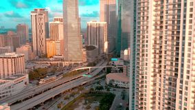 MIAMI, FLORIDA, USA - MAY 2019: Aerial drone view flight over Miami downtown. Road viaduct and overpass from above. MIAMI, FLORIDA, USA - MAY 2019: Aerial drone stock video