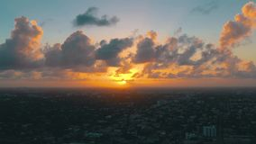 MIAMI, FLORIDA, USA - MAY 2019: Aerial drone view flight over Miami downtown. East Little Havana from above. MIAMI, FLORIDA, USA - MAY 2019: Aerial drone view stock footage