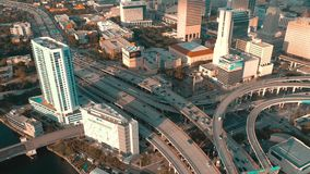 Miami, Florida, Usa - May 2019: Aerial drone view flight over Miami downtown. Road viaduct and overpass from above. Miami, Florida, Usa - May 2019: Aerial drone stock footage