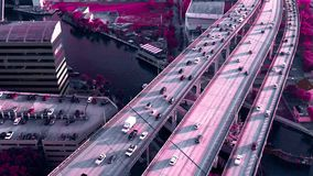Miami, Florida, Usa - May 2019: Aerial drone view flight over Miami downtown. Road viaduct and overpass from above. Miami, Florida, Usa - May 2019: Aerial drone stock video footage
