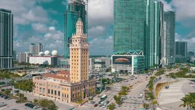 MIAMI, FLORIDA, USA - MAY 2019: Aerial shot of Miami downtown. Freedom Tower and Biscayne boulevard from above.