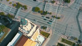 Miami, Florida, Usa - May 2019: Aerial shot of Miami downtown. Freedom Tower and Biscayne boulevard from above. Miami, Florida, Usa - May 2019: Aerial drone stock video