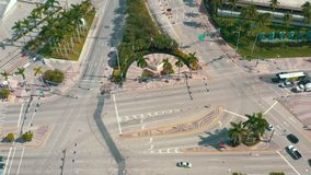 MIAMI, FLORIDA, USA - MAY 2019: Aerial shot of Miami downtown. Biscayne boulevard from above.