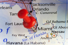 Miami, Florida, USA, pinned map. Copy space available royalty free stock photos