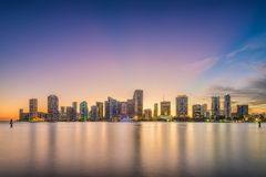 Miami, Florida, USA skyline on Bisayne Bay Stock Photography